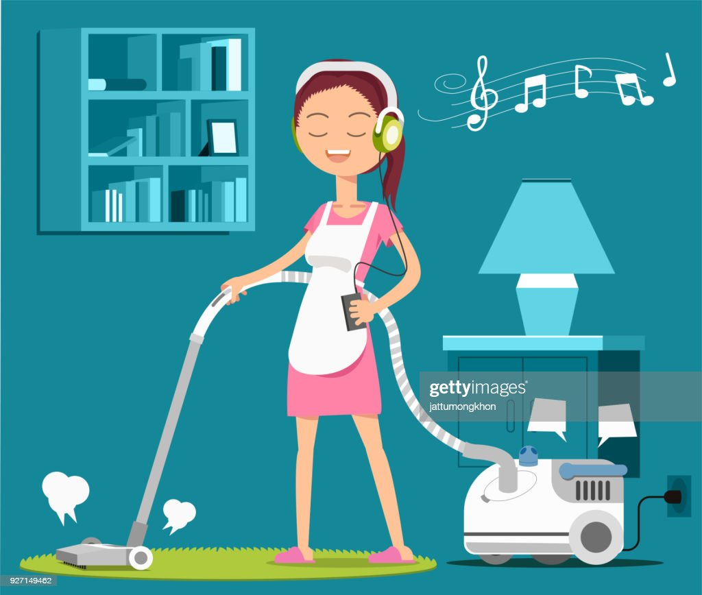 Carpet cleaning with a song to relax at work.