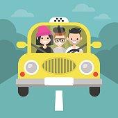 Carpool. Car sharing. Taxi service / flat editable vector illustration, clip art