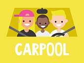 Carpool. Taxi service. Driver and passengers sitting in the car. Close up view / flat editable vector illustration, clip art