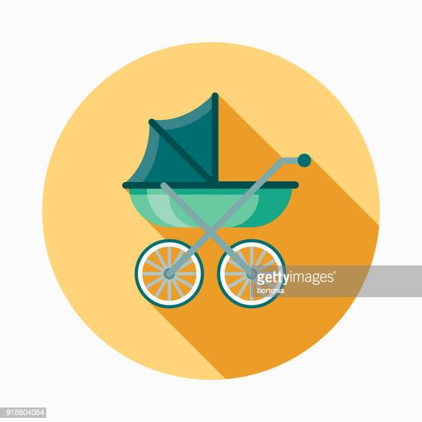 carriage flat design baby icon - baby carriage stock illustrations
