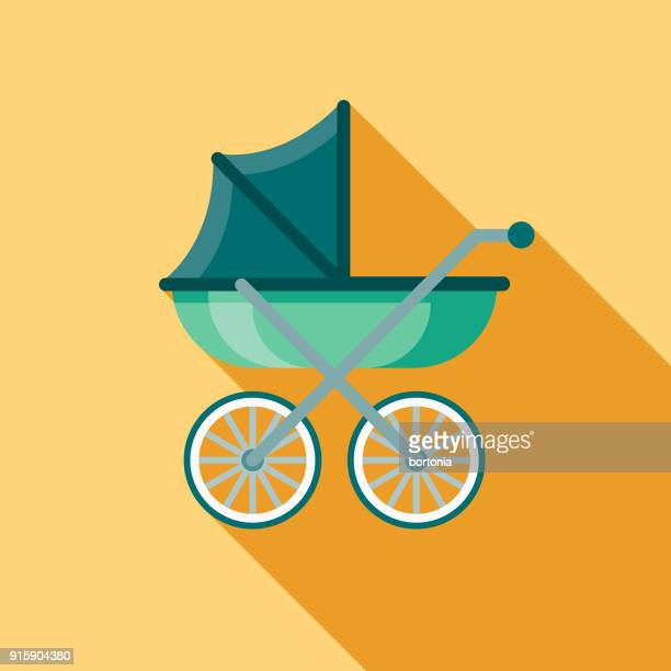 carriage flat design baby icon - baby stroller stock illustrations