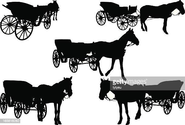 carriages - horse cart stock illustrations, clip art, cartoons, & icons