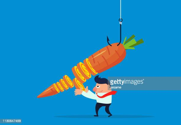 carrot money bait - teasing stock illustrations, clip art, cartoons, & icons