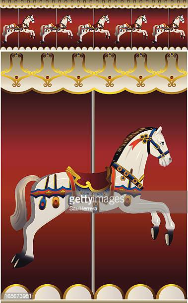 carrousel horse - school carnival stock illustrations, clip art, cartoons, & icons