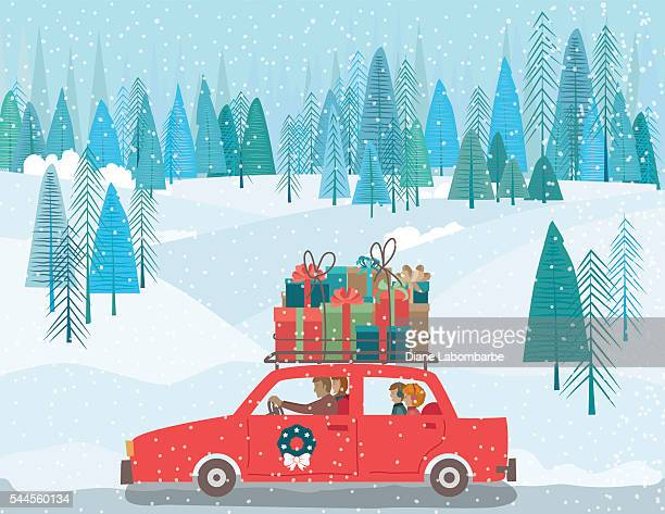 carrtoon family drving a car wih gifts on the roof - blizzard stock illustrations