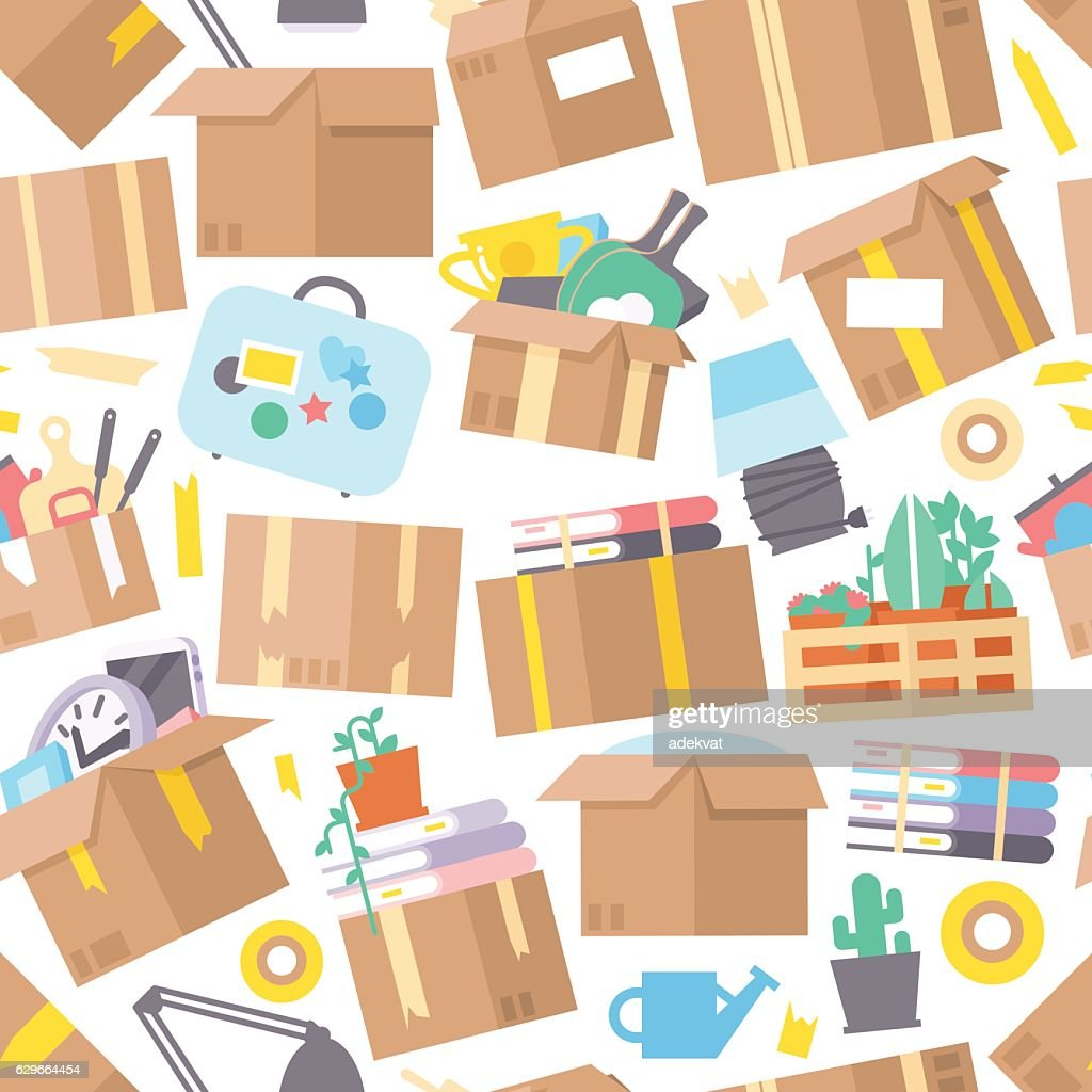 Carrying boxes seamless pattern warehouse shipping container.
