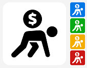 Carrying Coin Icon Flat Graphic Design