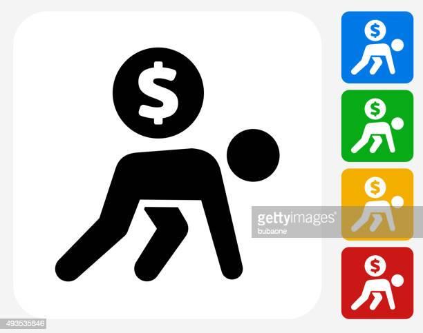 ilustrações, clipart, desenhos animados e ícones de carregando moedas plana ícone de design gráfico - engatinhando