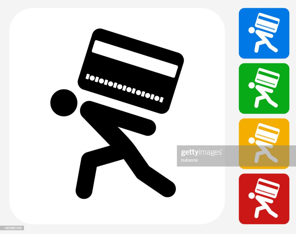 Carrying Credit Card Icon Flat Graphic Design