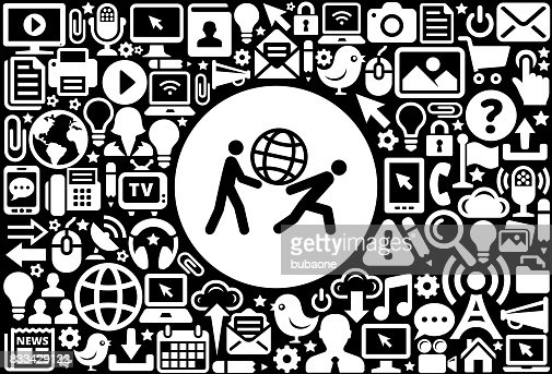 Carrying Globe Icon Black And White Internet Technology