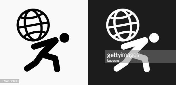 Carrying Globe Icon on Black and White Vector Backgrounds
