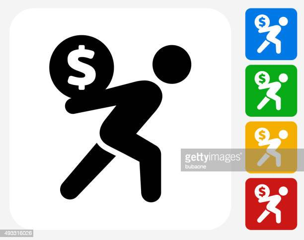 Carrying Money Icon Flat Graphic Design