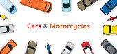 Cars and Motorcycles  Top or Above View Frame