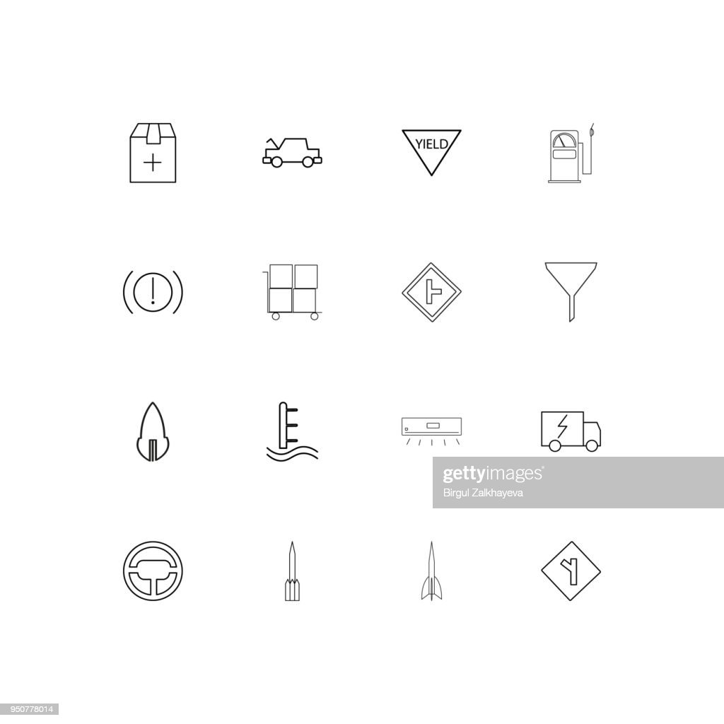 Cars And Transportation simple linear icons set. Outlined vector icons