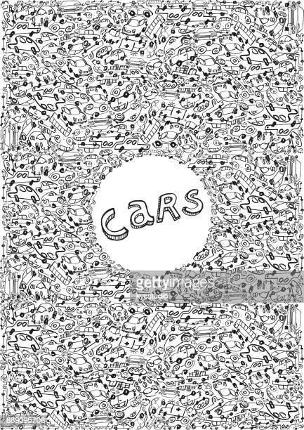 Cars and vehicles doodle