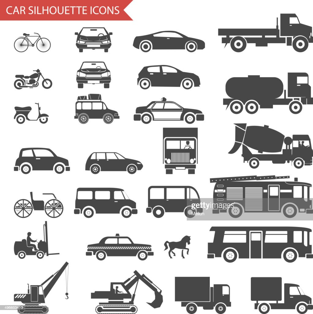 Cars and Vehicles Silhouette Icons Transport Symbols Isolated Set Vector