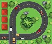 Cars driving around the circle