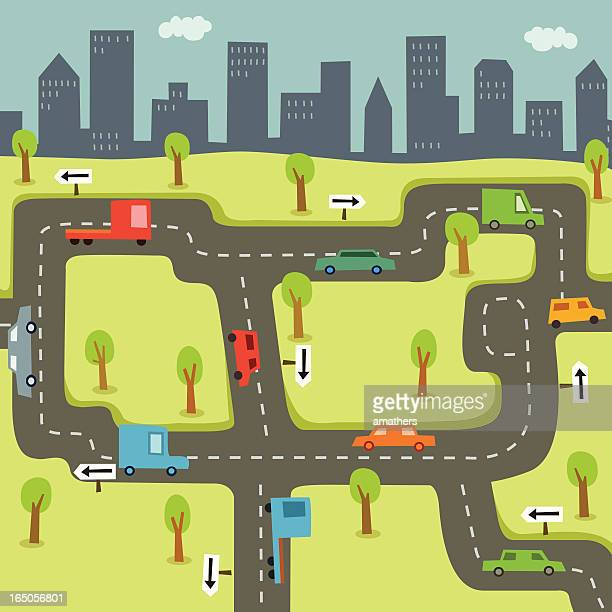 cars driving on roads with city skyline background - lutin stock illustrations