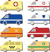 Cars icon set: ambulance, police, fire truck, taxi, service