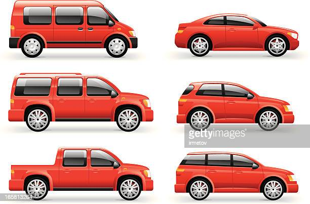 cars icon set - side view stock illustrations
