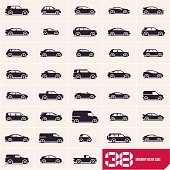 Cars icons set, different vector cars