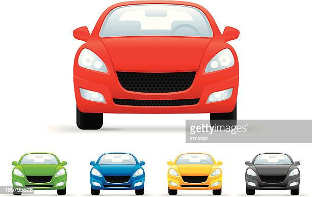 stockillustraties, clipart, cartoons en iconen met cars icons set - frontaal