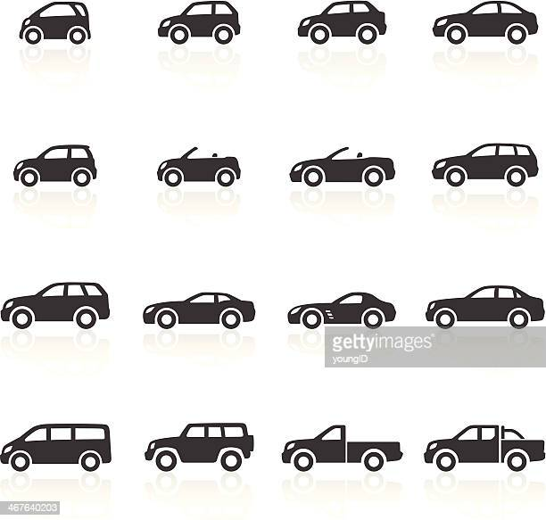 cars icons - side view stock illustrations