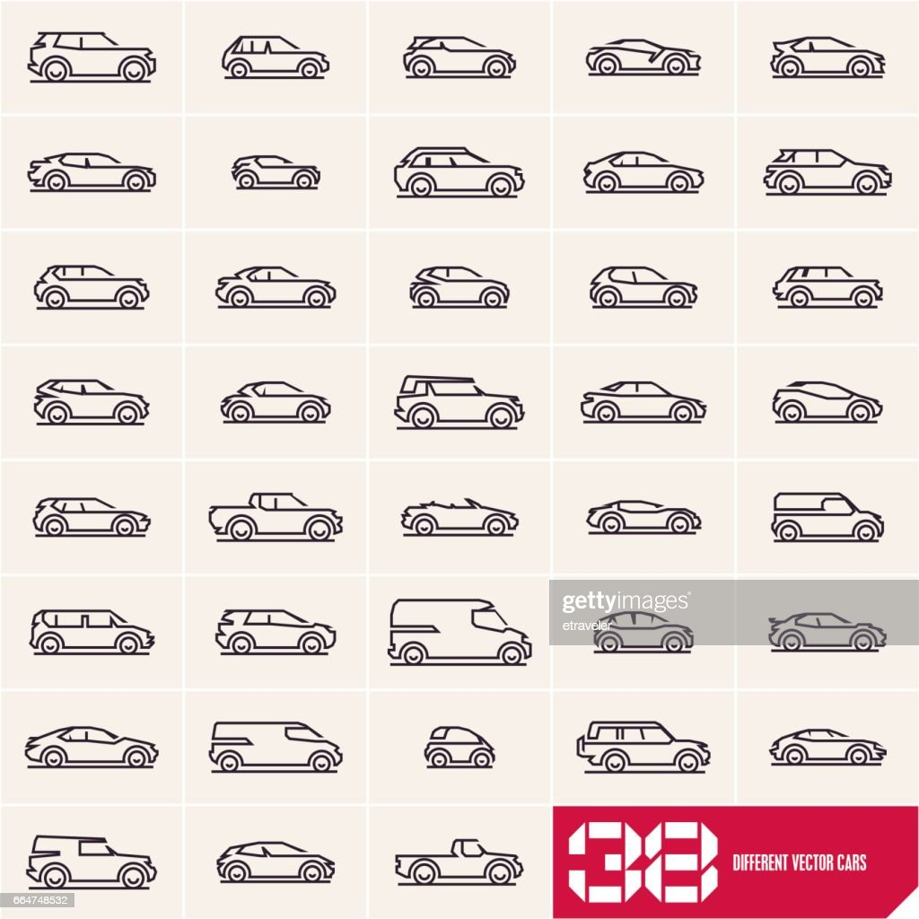 Cars line icons set, different car types linear silhouettes