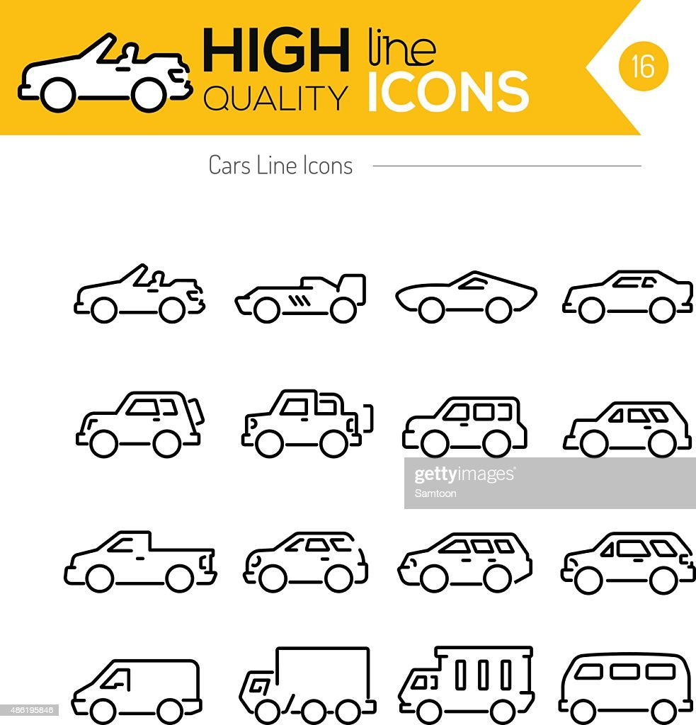 Cars line Icons