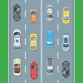 Cars on the road view from above vector illustration