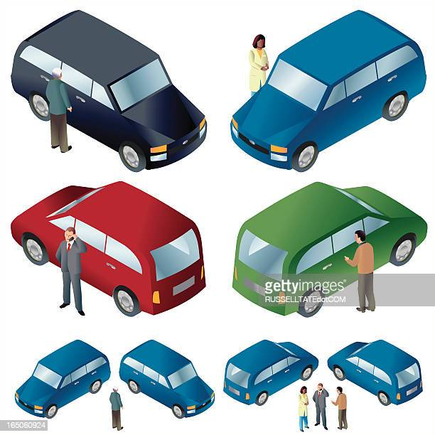 cars + people iso - hatchback stock illustrations, clip art, cartoons, & icons