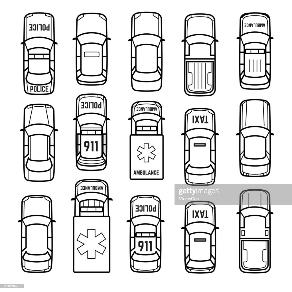Cars top view thin line vector icons