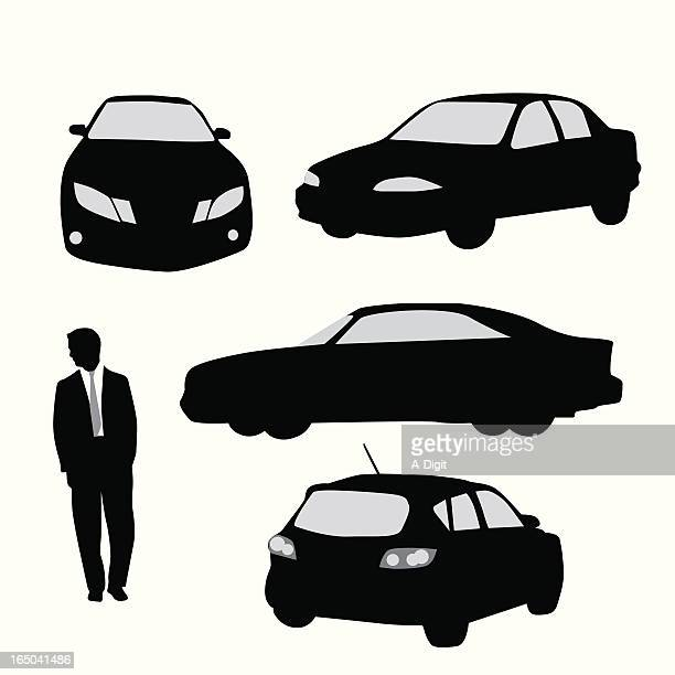 cars vector silhouette - car salesperson stock illustrations, clip art, cartoons, & icons