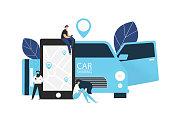 Carsharing concept. Vector illustration.