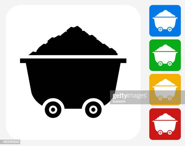 Cart and Sand Pile Icon Flat Graphic Design