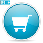 Cart blue glossy round vector icon in eps 10. Editable modern design internet button on white background.