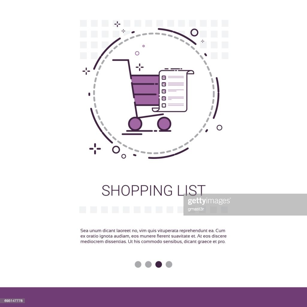 Cart Online Shopping List Web Banner With Copy Space
