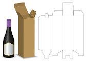 carton box dieline for bottle package mockup