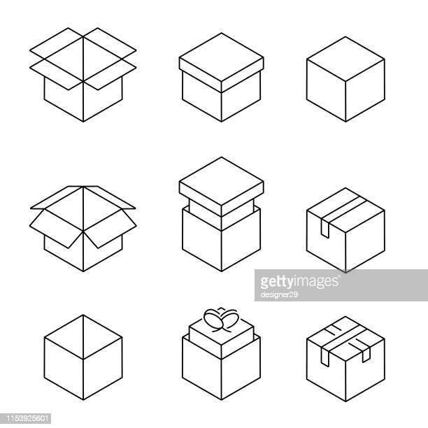 carton box icon set, line design. - packaging stock illustrations
