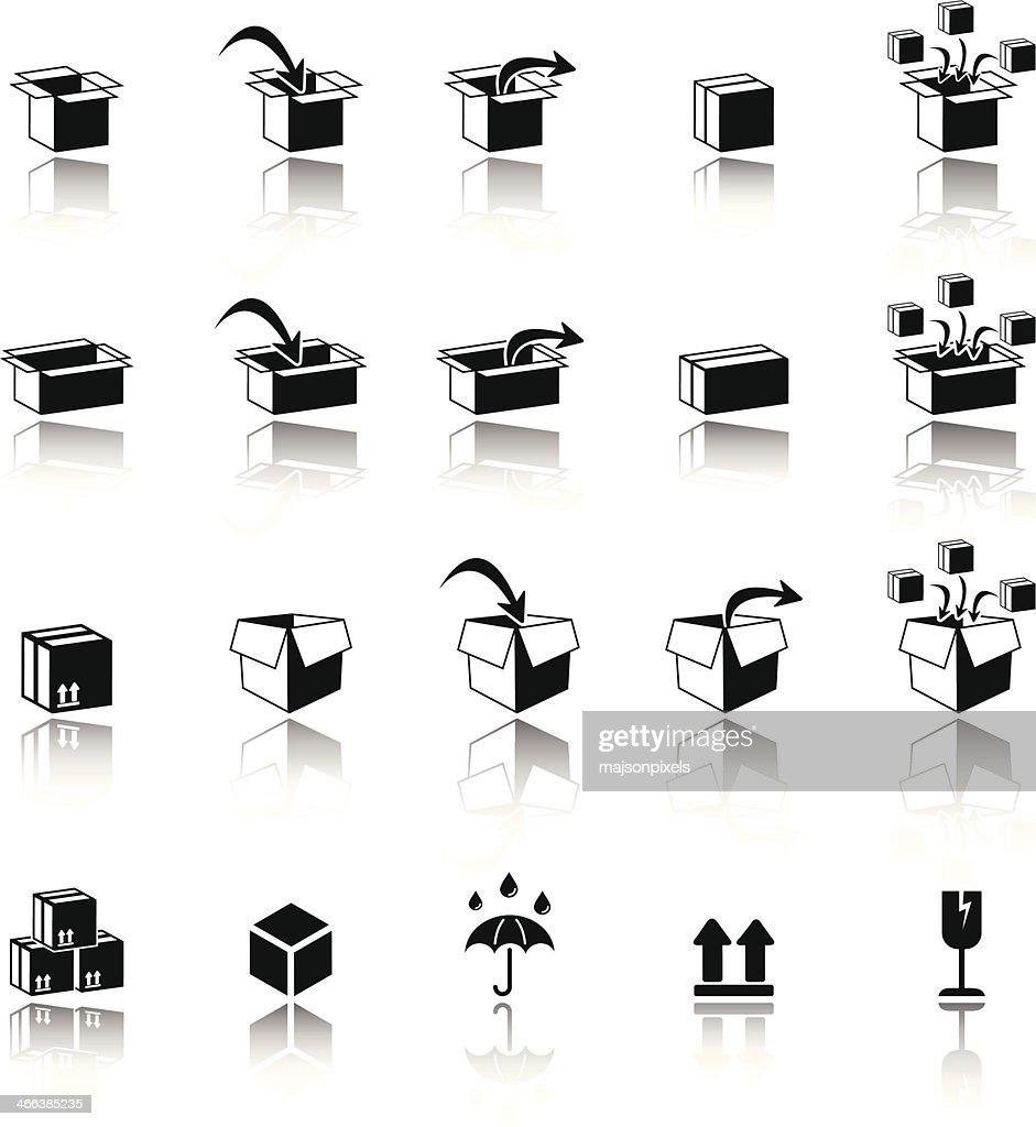 Carton box nad packaging icons