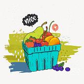 Carton box of frash fruits and berries