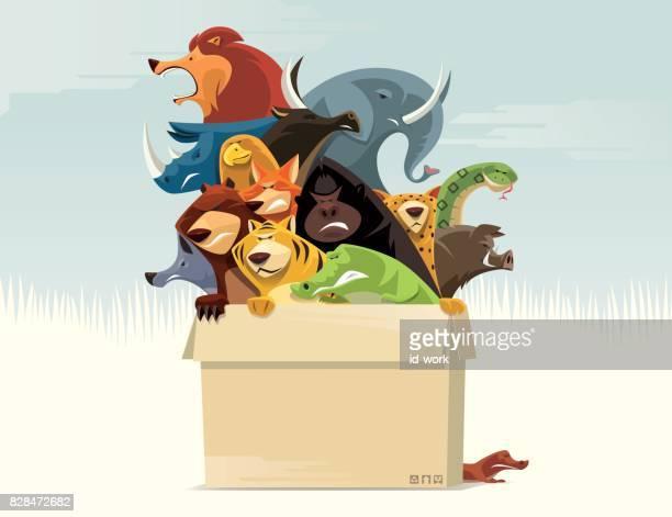 karton van boos wilde dieren