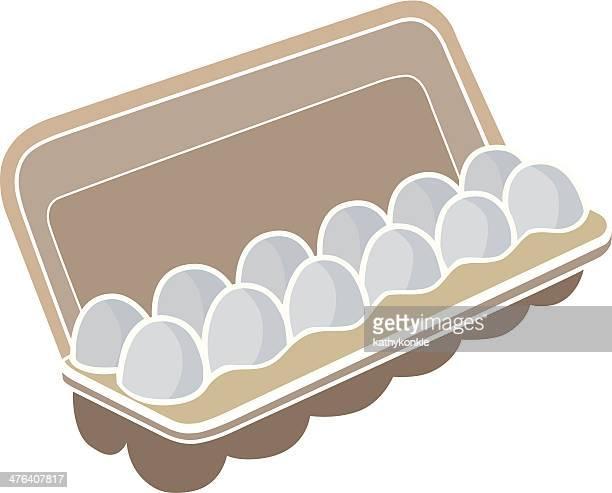 carton of eggs - dozen stock illustrations