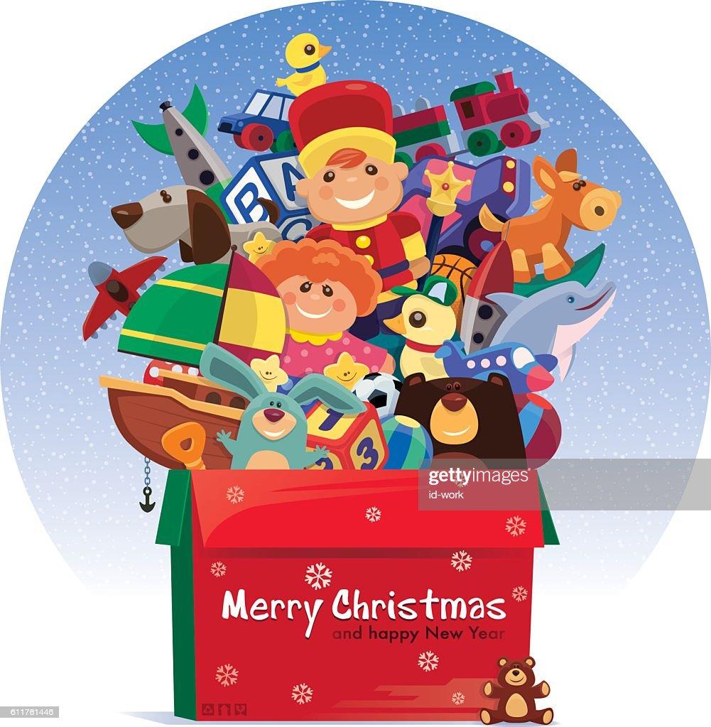 carton of toys for christmas : Vector Art