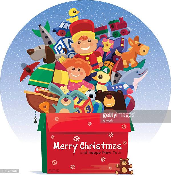 carton of toys for christmas