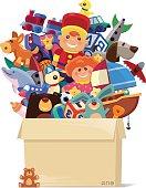 carton of toys