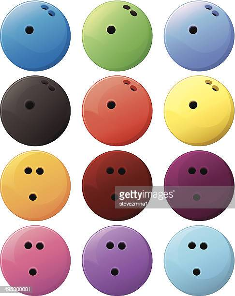 carton of twelve colored bowling balls on white background. - bowling ball stock illustrations, clip art, cartoons, & icons