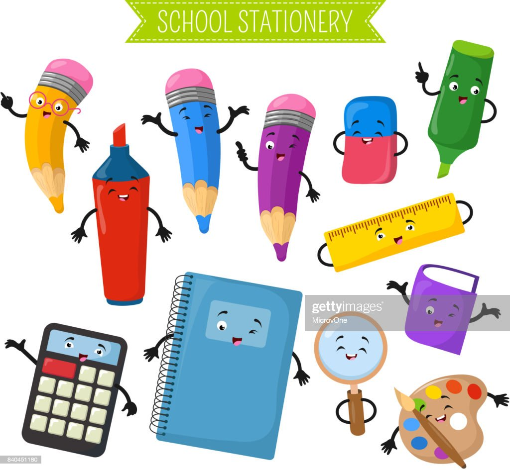 Cartoon 3d vector characters of school writing stationery