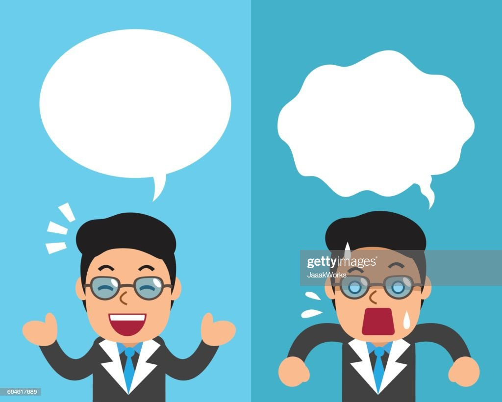 Cartoon a businessman expressing different emotions with white speech bubbles