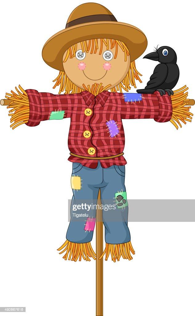 Cartoon a crow perch on the Scarecrow